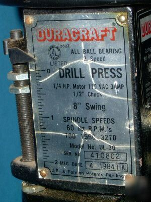 Duracraft 3 Speed Drill Press