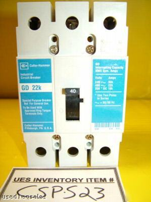 Cutler-hammer gd 22K 3-pole 40 amp used circuit breaker